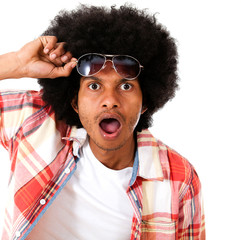 Surprised black man