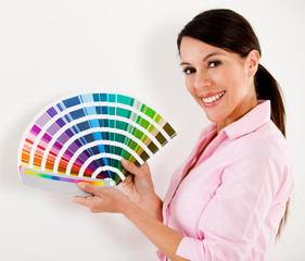 Woman paint house