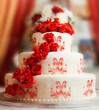 canvas print picture - Wedding cake with roses