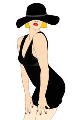 Bella ragazza bionda in abito nero e cappello