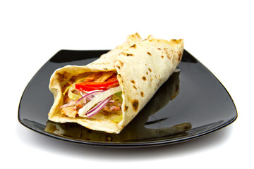 Turkish chicken doner kebab in wrap