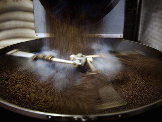 Coffee beans falling into steaming roasting machine