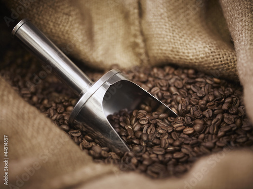 Burlap sack with scoop and coffee beans