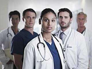 Portrait of confident doctors and nurses