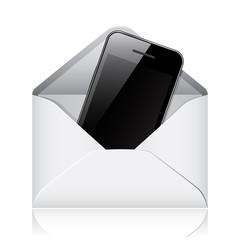 Vector modern phone in envelope