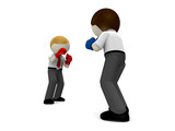 3d boxing concept for business rivalry. poster