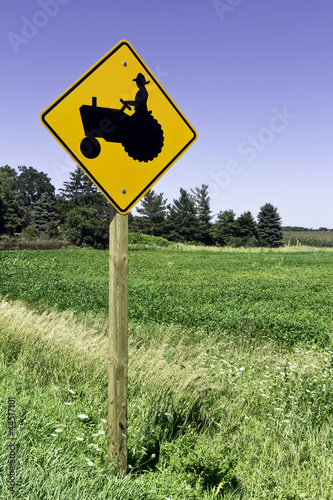 Farm tractor road sign
