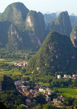View of Guilin village at sunset from Moon Hill mountain