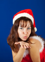 Air-kissing   girl in christmas costume