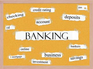 Banking Corkboard Word Concept
