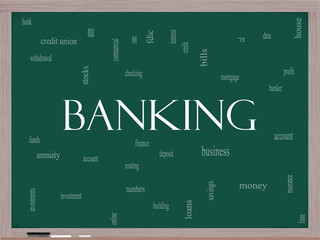 Banking Word Cloud Concept on a Blackboard