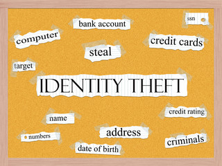 Identity Theft Corkboard Word Concept