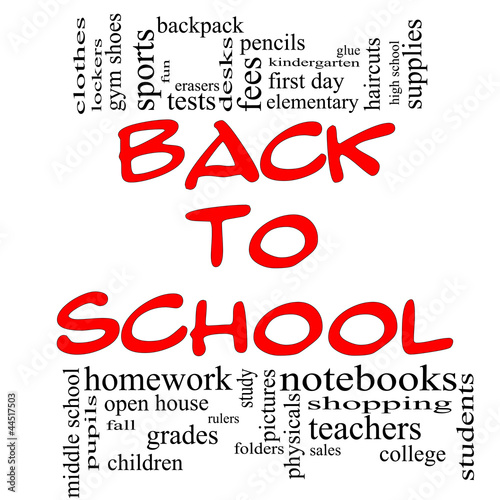 Back to School Word Cloud Concept in red & black