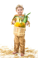 adorable  Native American child holding a harvest basket