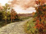 Fototapety Droga przez las w jesiennych barwach