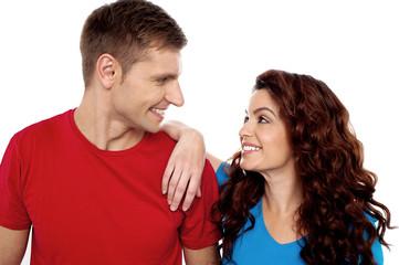 Admiring love young couple, closeup shot