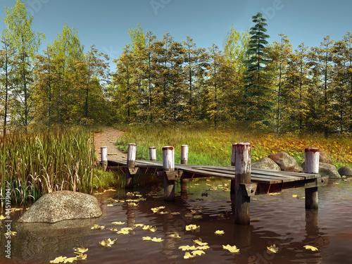 Molo nad jeziorem przy jesiennym lesie
