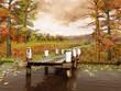 Jesienna łąka i molo nad jeziorem