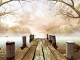 Jesienna sceneria z drewnianym molo na jeziorze