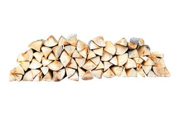 Feuerholzstapel vor weissem Hintergrund
