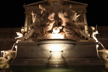 The Athena Fountain in front of the Austrian Parliament in Vienn