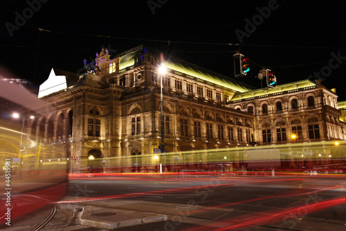 The Vienna Opera house at night in Vienna, Austria
