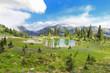 Mountain lake with green beautiful landscape