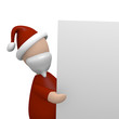 Santa holding a blank board with space for text