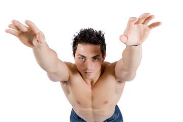 Modello con braccia in alto