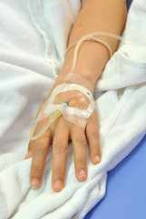 IV solution in a patients hand