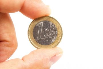 un euro in mano