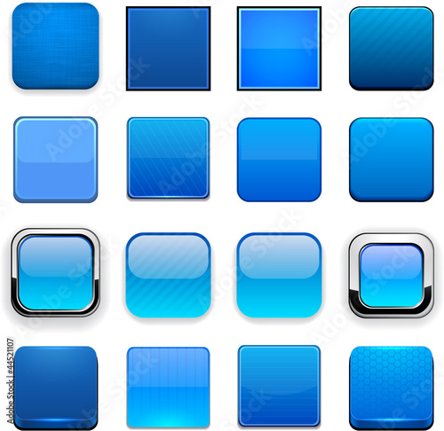 Blue square high-detailed web buttons.