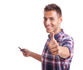 young casual man going thumb up