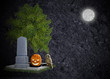 Textured black halloween background grave moon owl and pumpkin