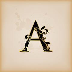 Vintage initials letter A