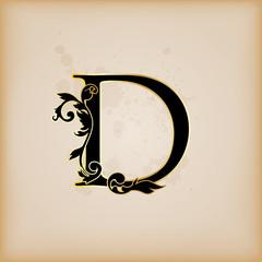 Vintage initials letter d