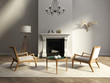 Elegant living room with  fireplace, atmospheric lounge interior