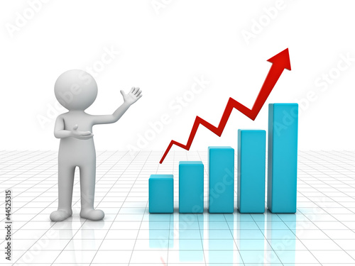 3d man presenting business graph over white background