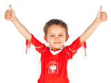 Young fan dressed as Polish national team
