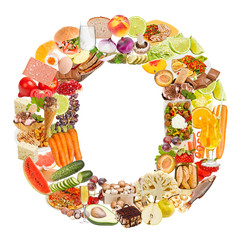 Letter O made of food