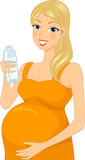 Pregnant Woman Drinking Bottled Water