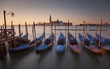 Moored gondolas in Venice, Italy