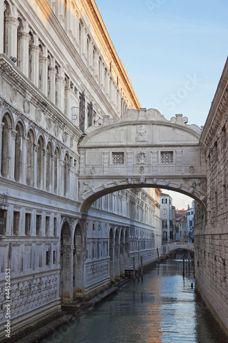 Bridge of Sighs over canal in Venice, Italy