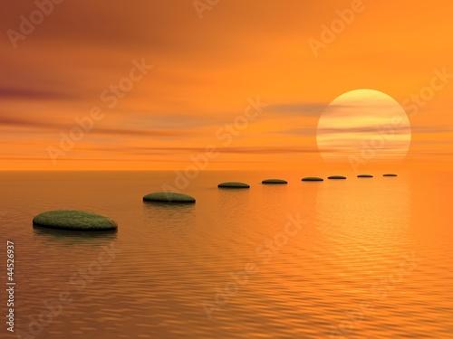 In de dag Oranje eclat Steps to the sun