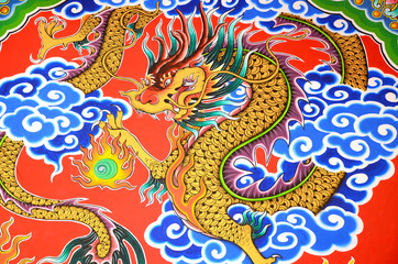 Painting of Golden Dragon of Holy Shrine.