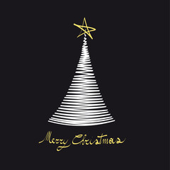 Modern Christmas Tree Black and White with Yellow Star