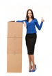 businesswoman with big boxes