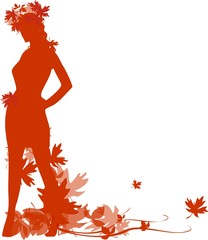 Silhouette of a woman with autumn leaves