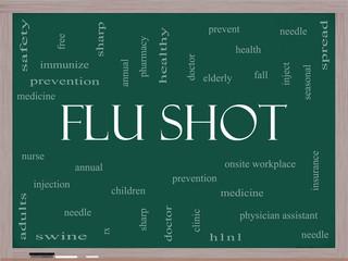 Flu Shot Word Cloud Concept on a Blackboard
