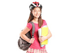 A girl on rollers holding notebooks